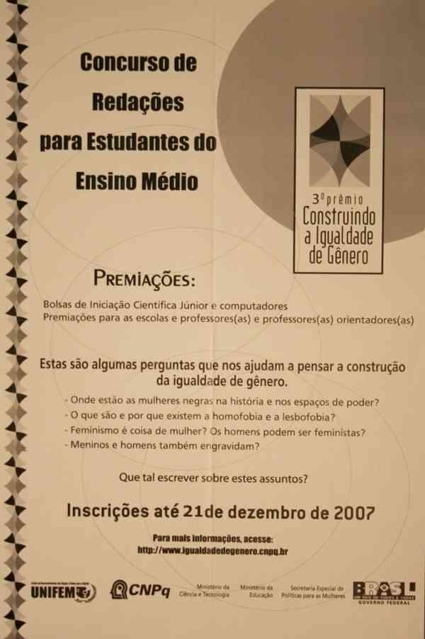 3o. PREMIO CONSTRUINDO A IGUALDADE DE GÊNERO